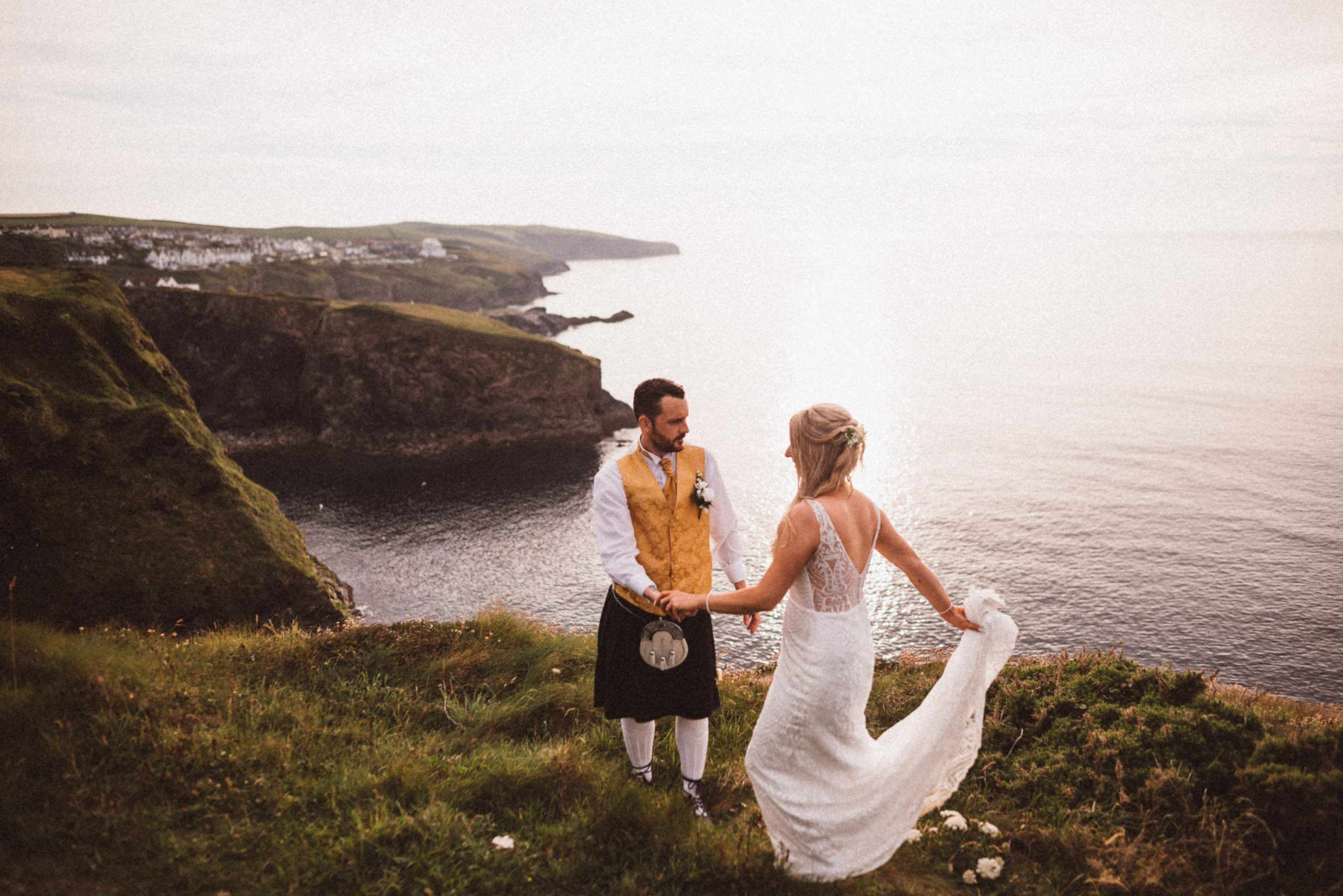Bride & groom portrait at Port Isaac Cornwall