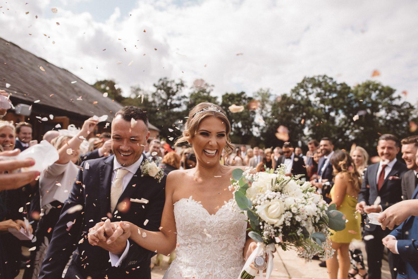 confetti shot at keythorpe manor wedding