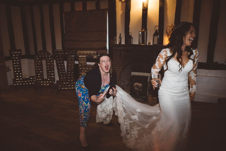 fun wedding photo on dance floor in Essex