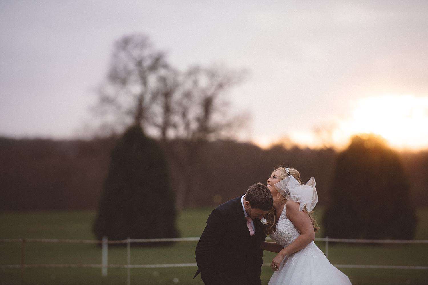 Golden hour wedding photography at Gosfield Hall
