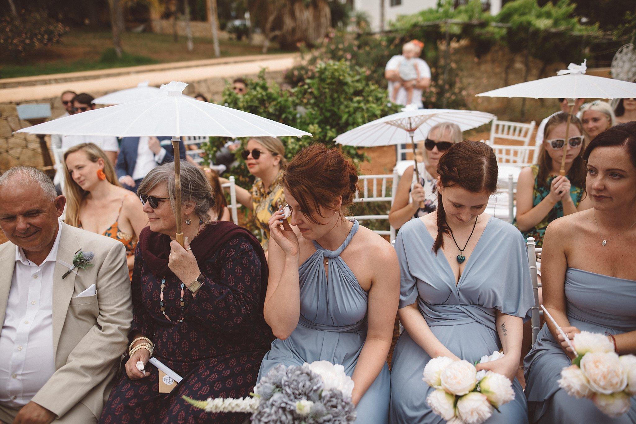 emotional bridesmaid at an Ibiza wedding