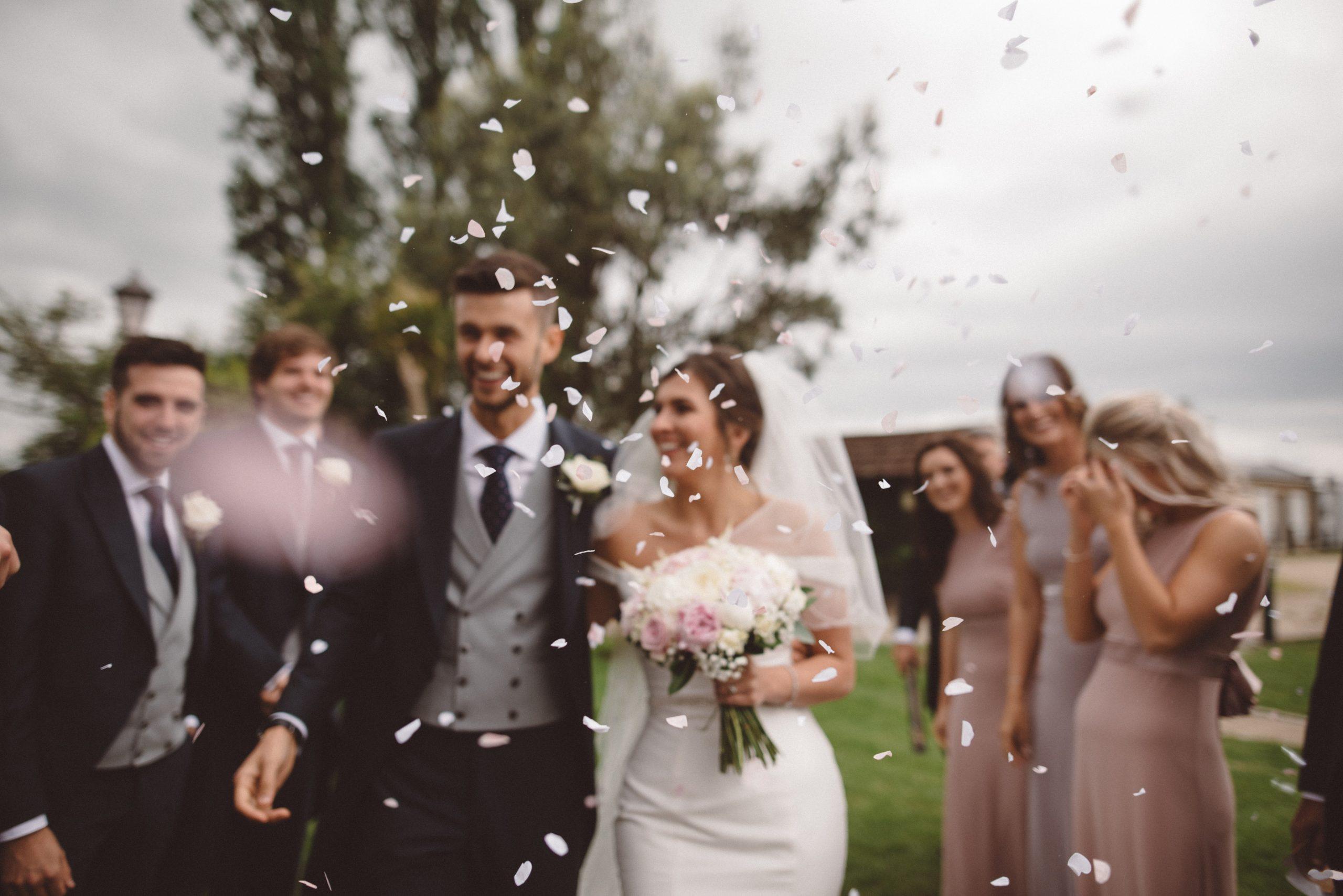 wedding confetti at Friern Manor