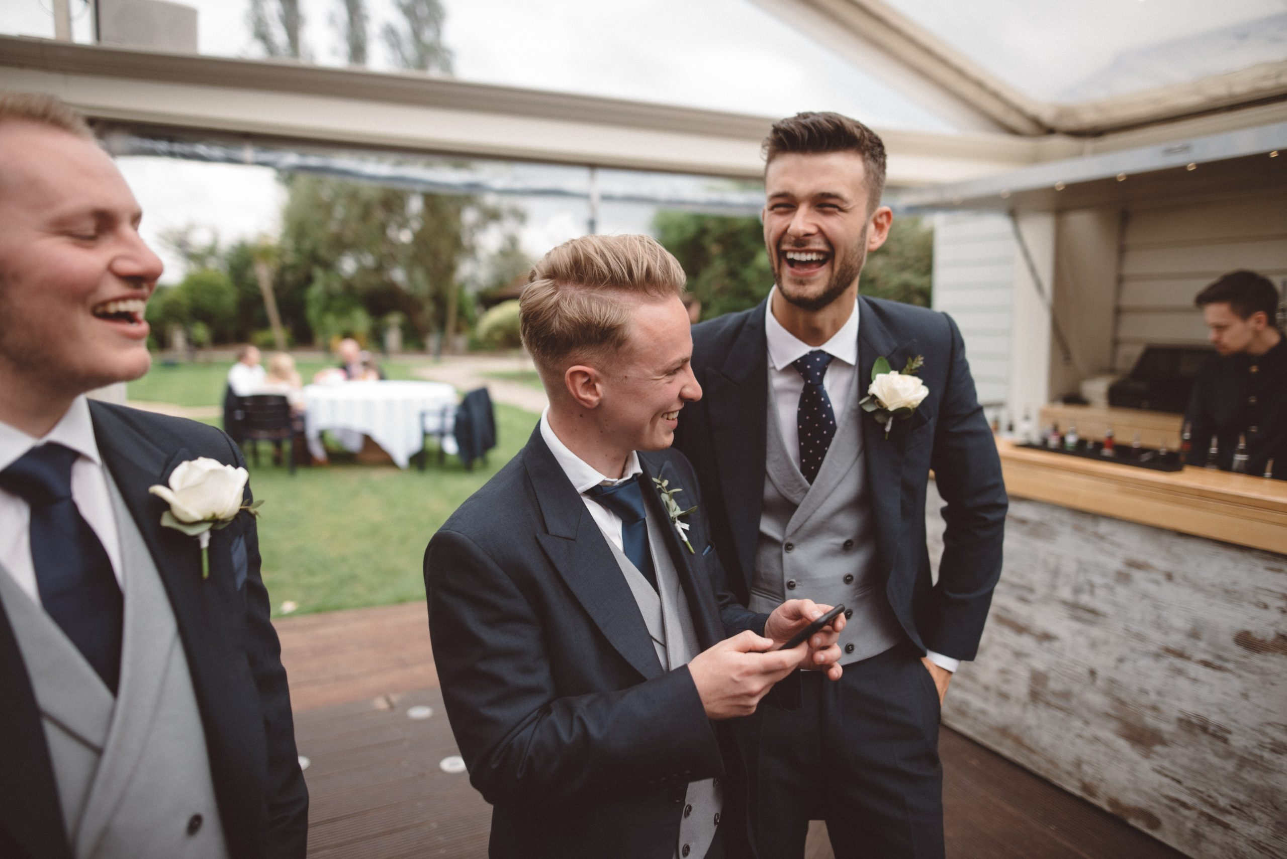 groom and best men at Friern Manor