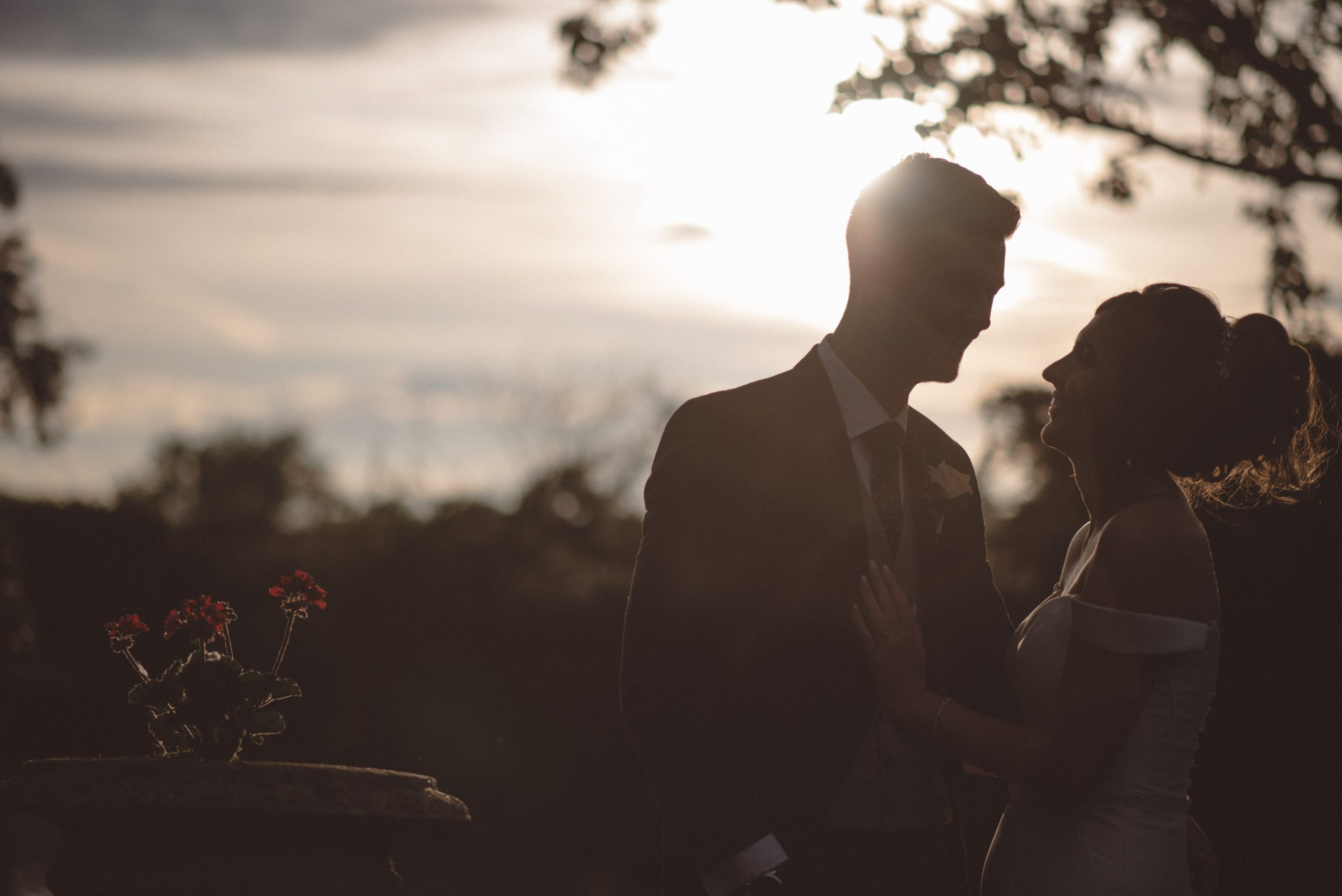 Golden hour wedding photography at Friern Manor