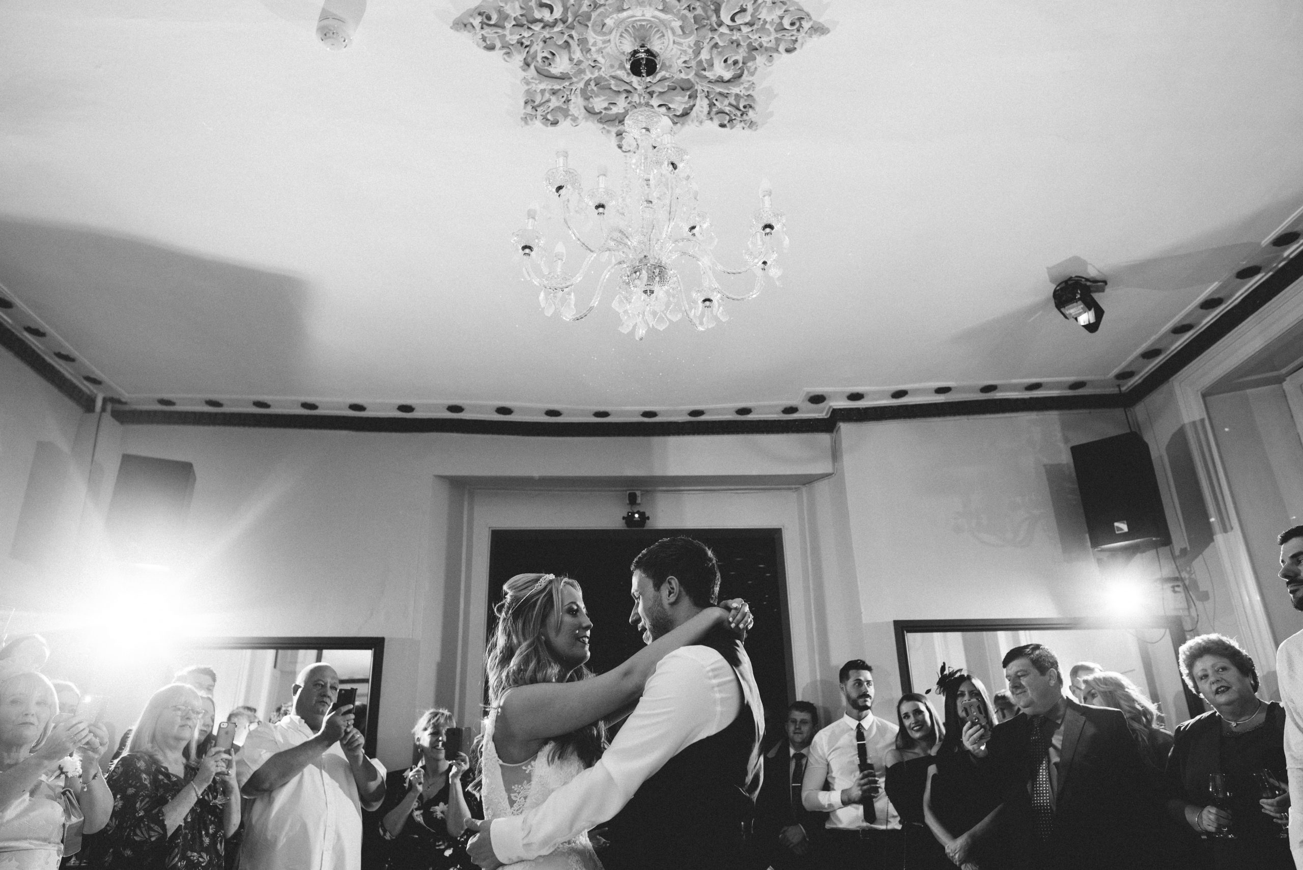 bride and groom at Gosfield Hall wedding reception
