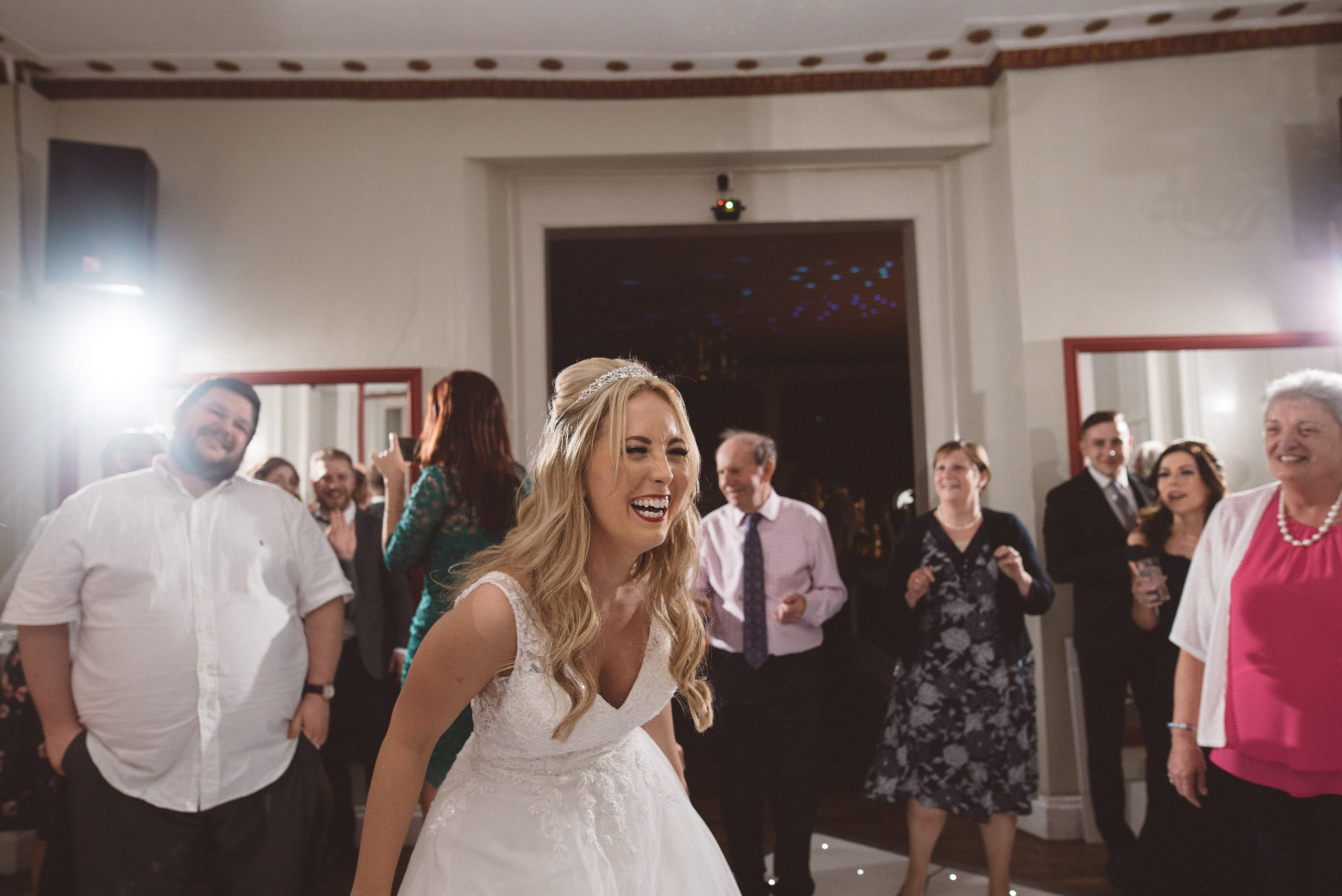 fun wedding bride at Gosfield Hall