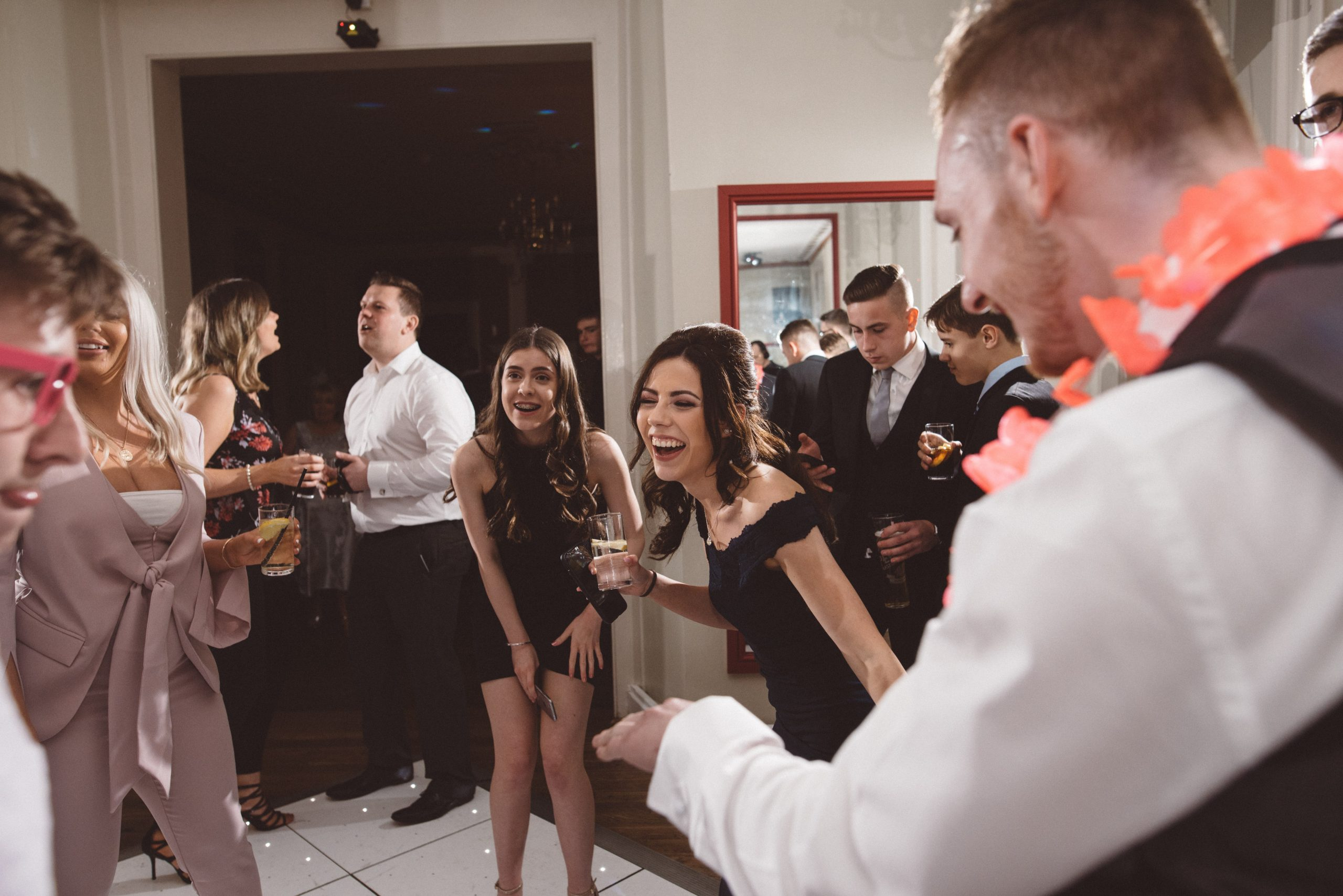 fun wedding guests at Gosfield Hall wedding reception