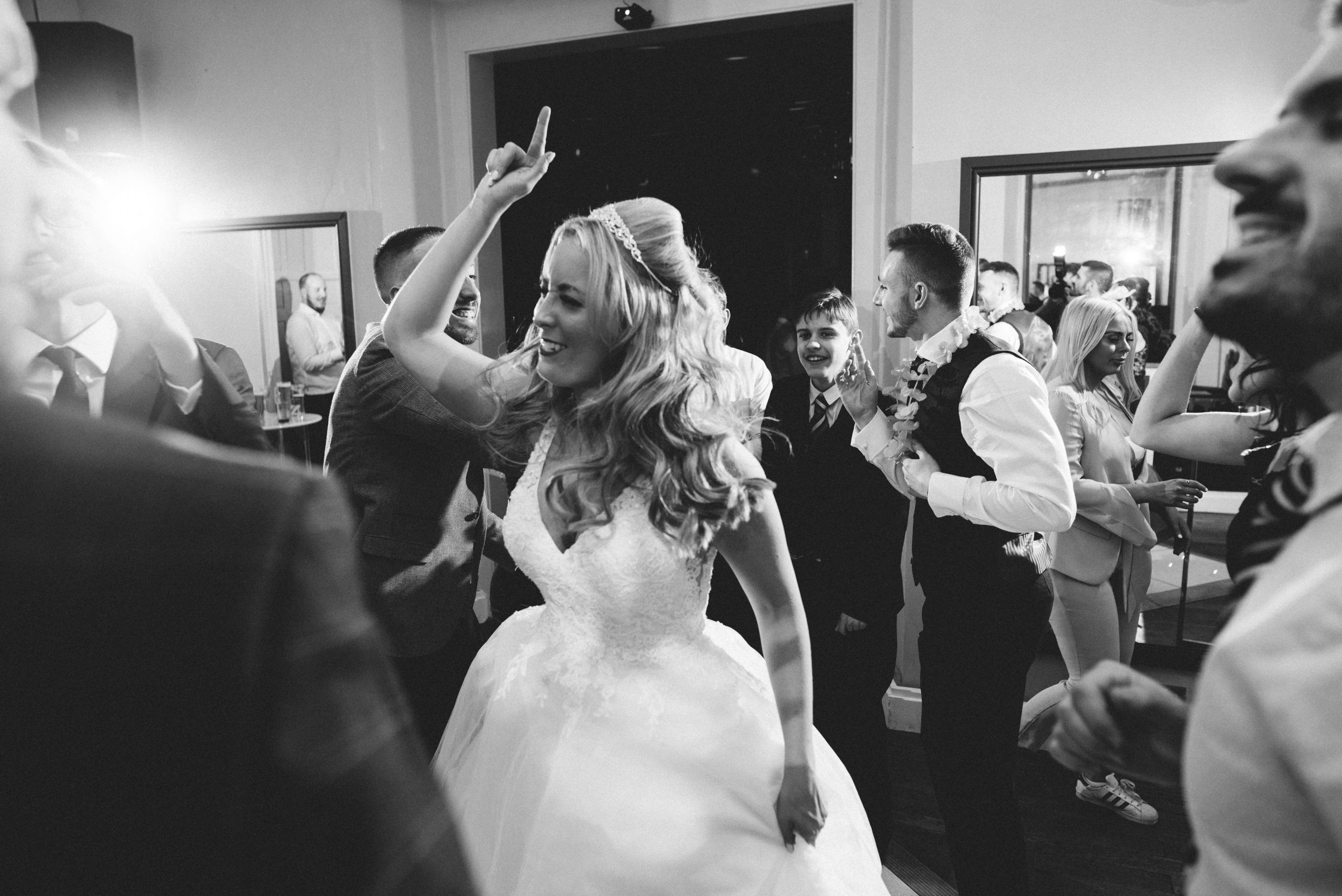 fun dancing bride at Gosfield Hall