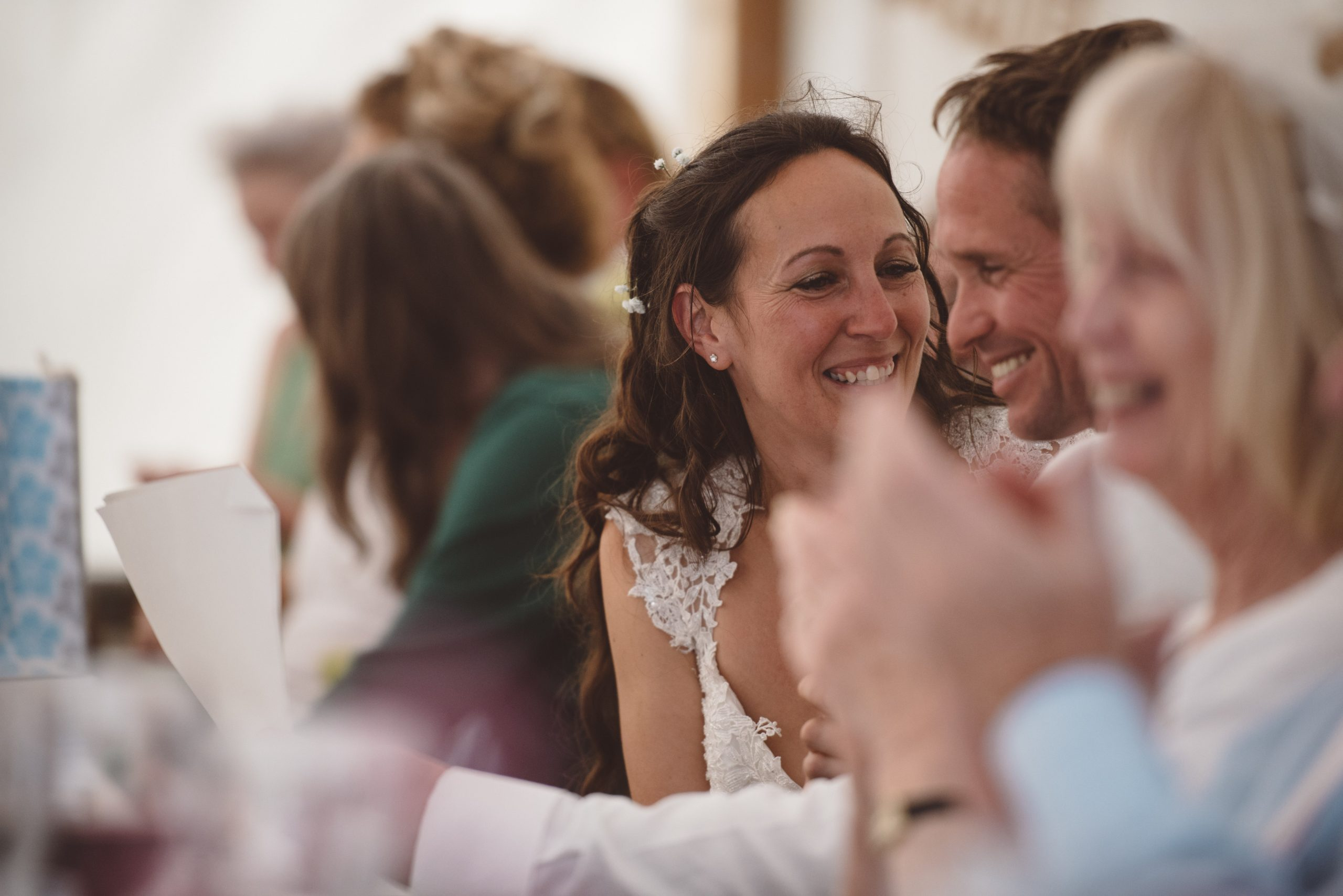 bride and groom share happy moment at Carswell wedding