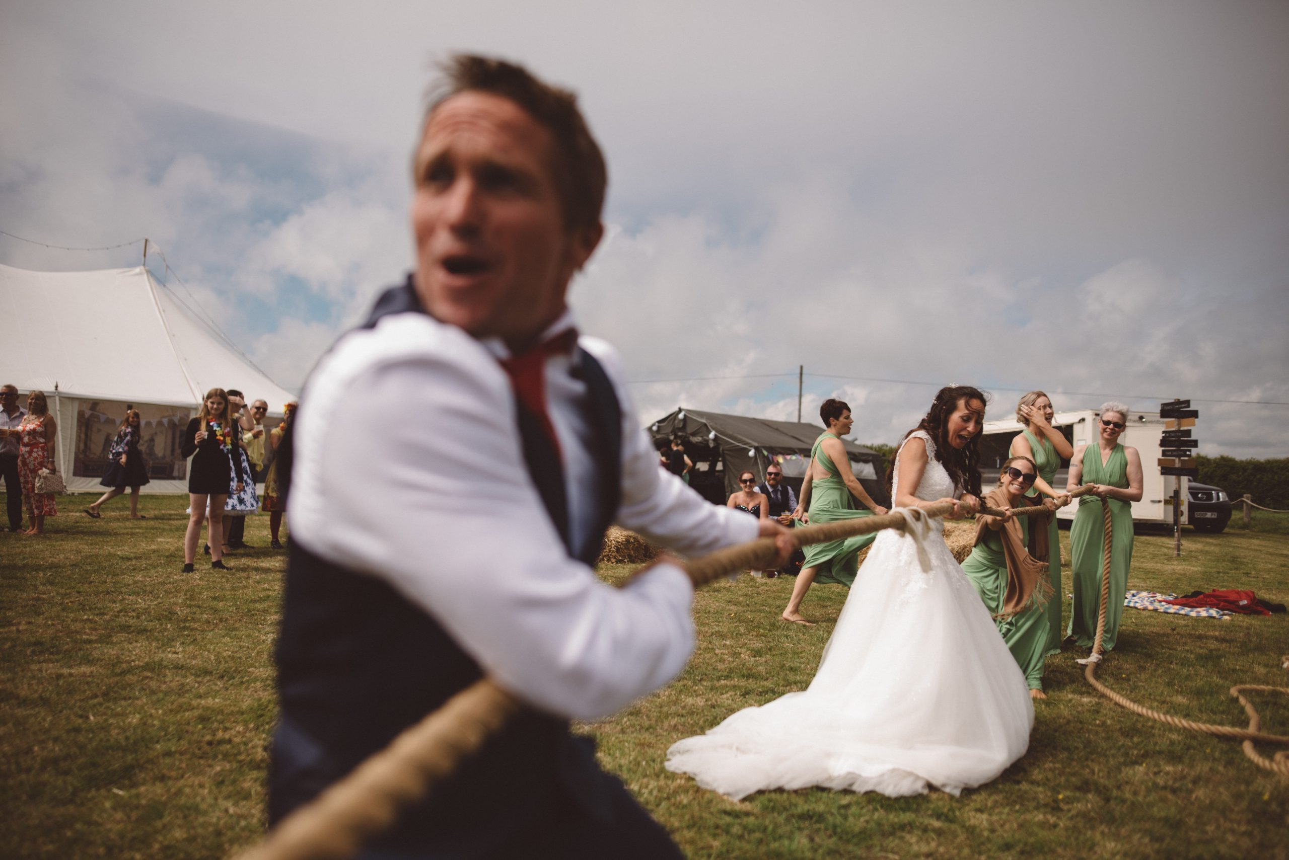 tug of war at Carswell weddings Devon