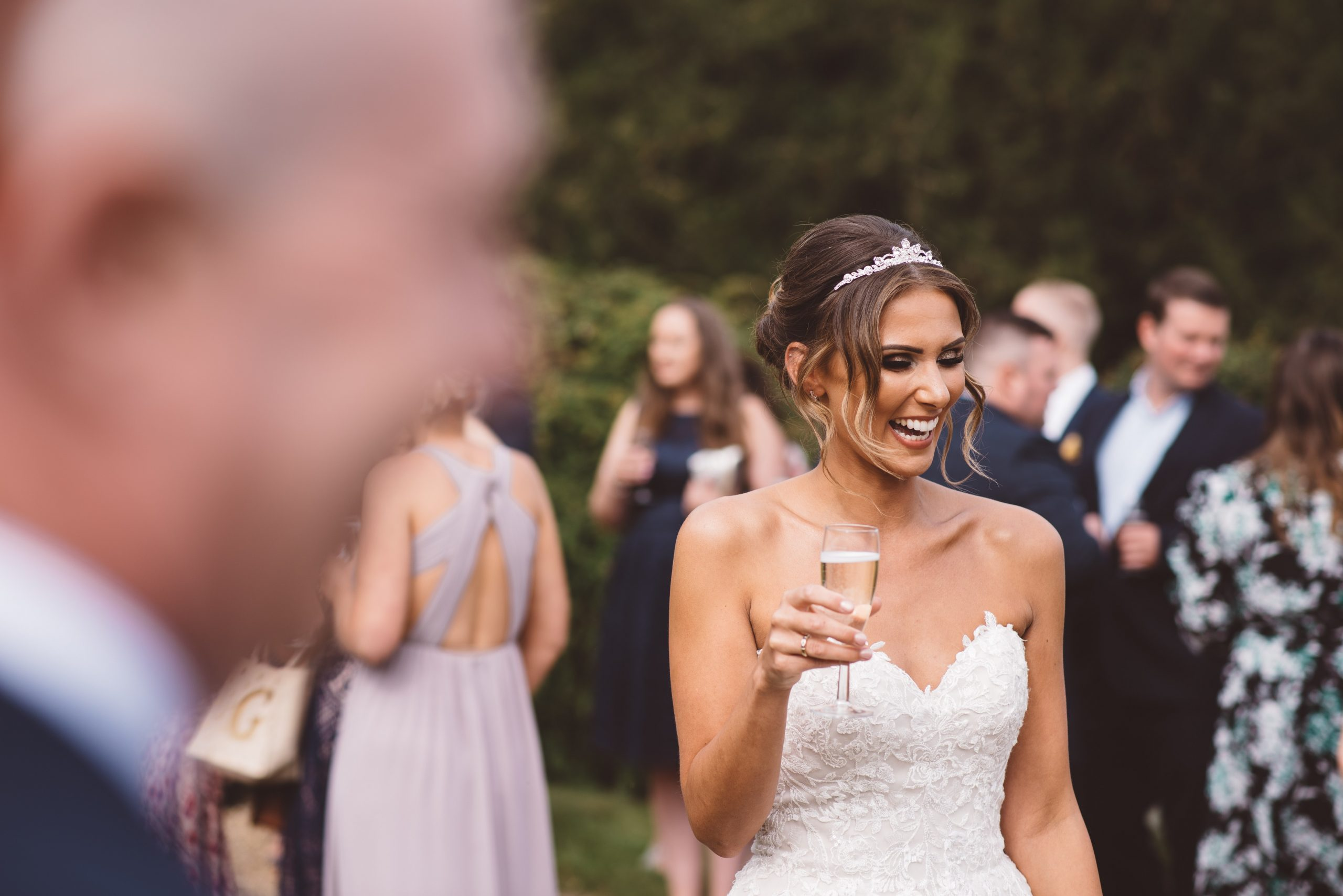 candid photo of bride at Keythorpe Manor