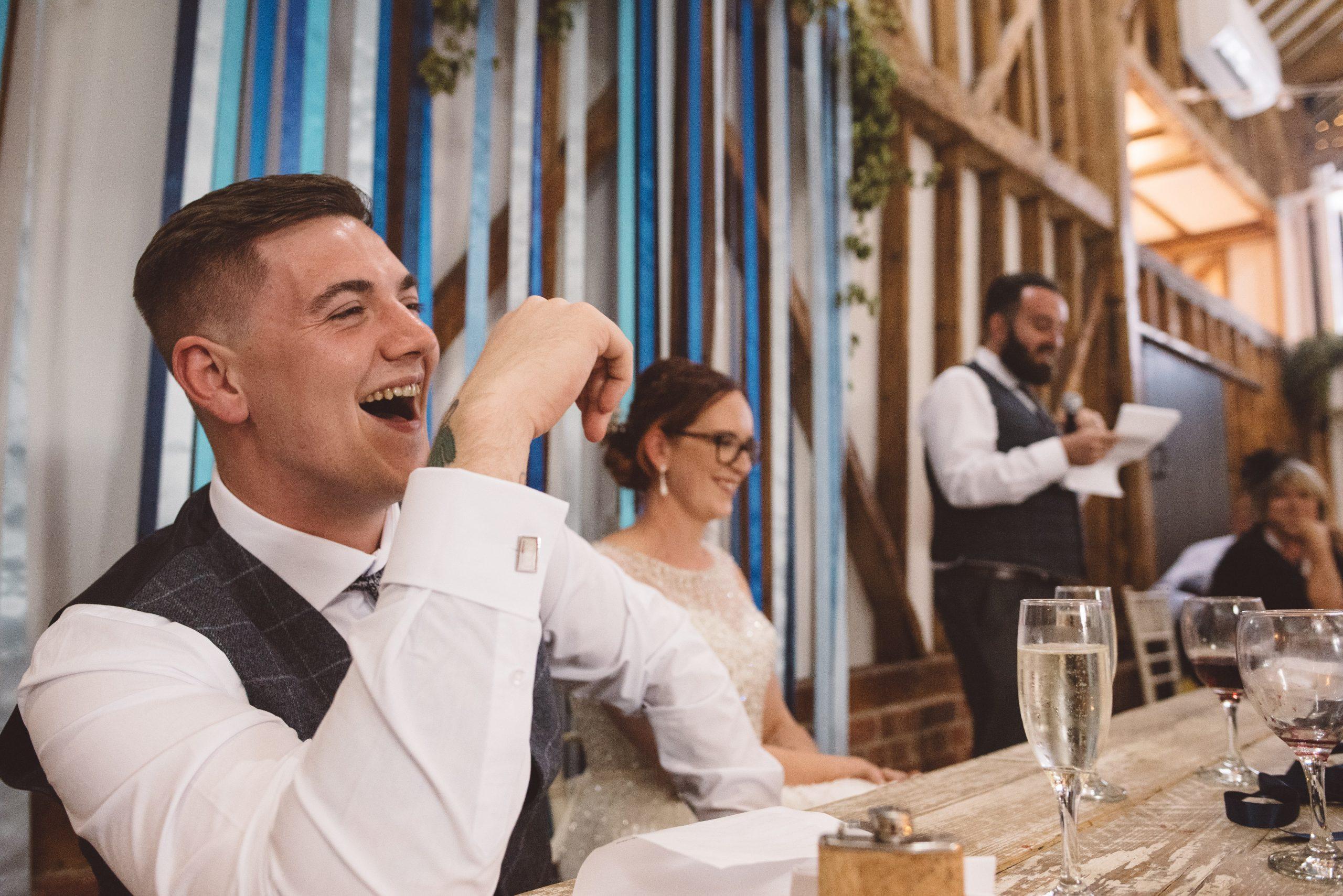 fun wedding speech at Milling Barn wedding venue