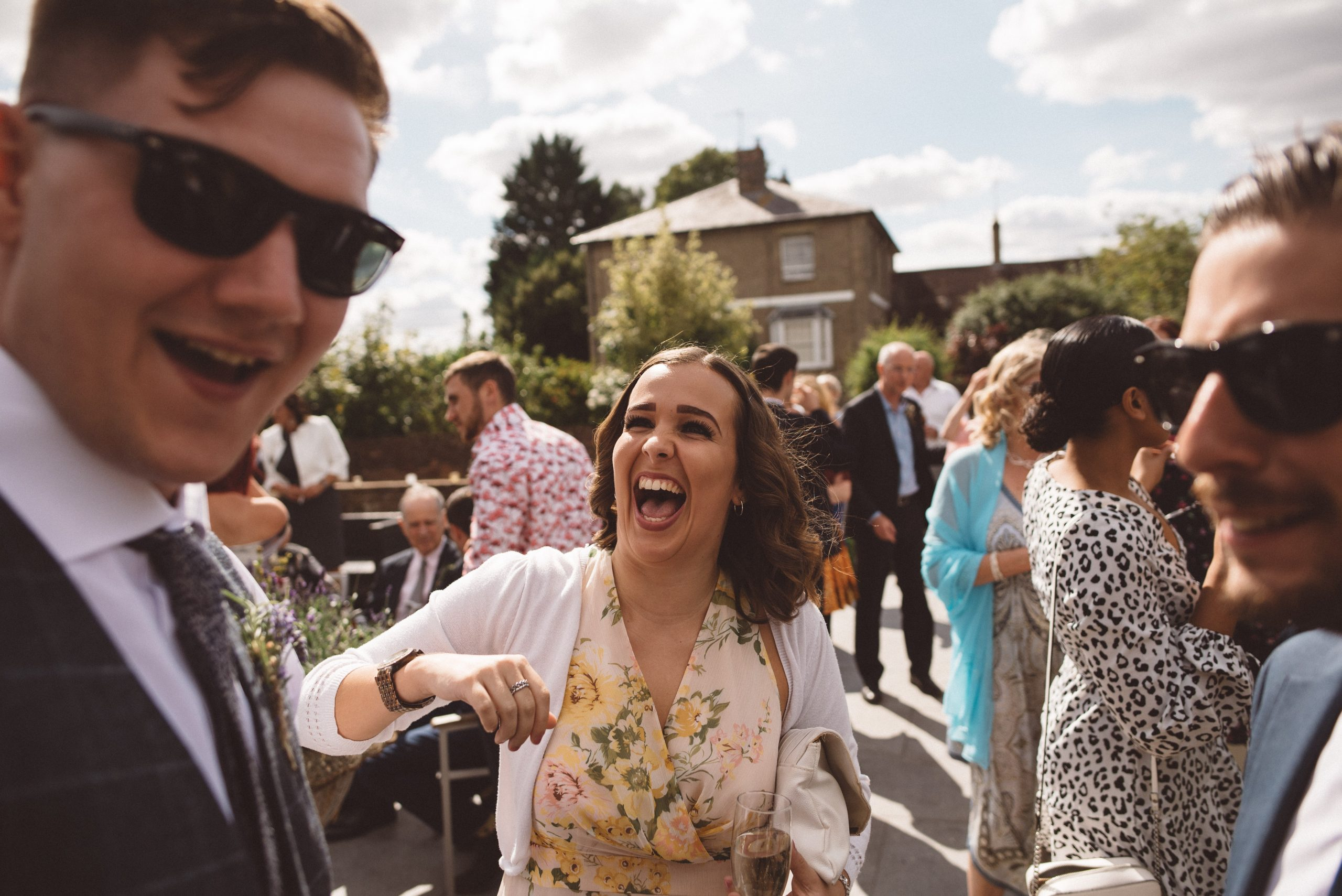 fun relaxed wedding photo in Hertfordshire
