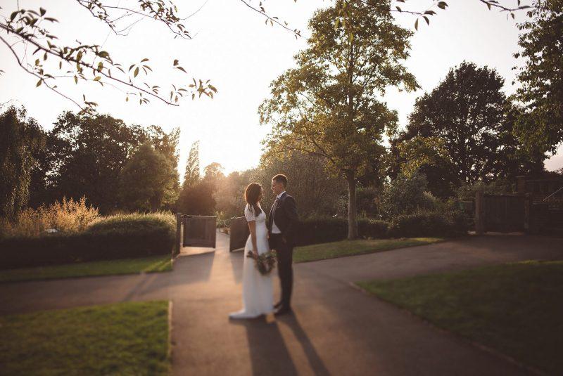 Golden hour wedding photography at Horniman Museum