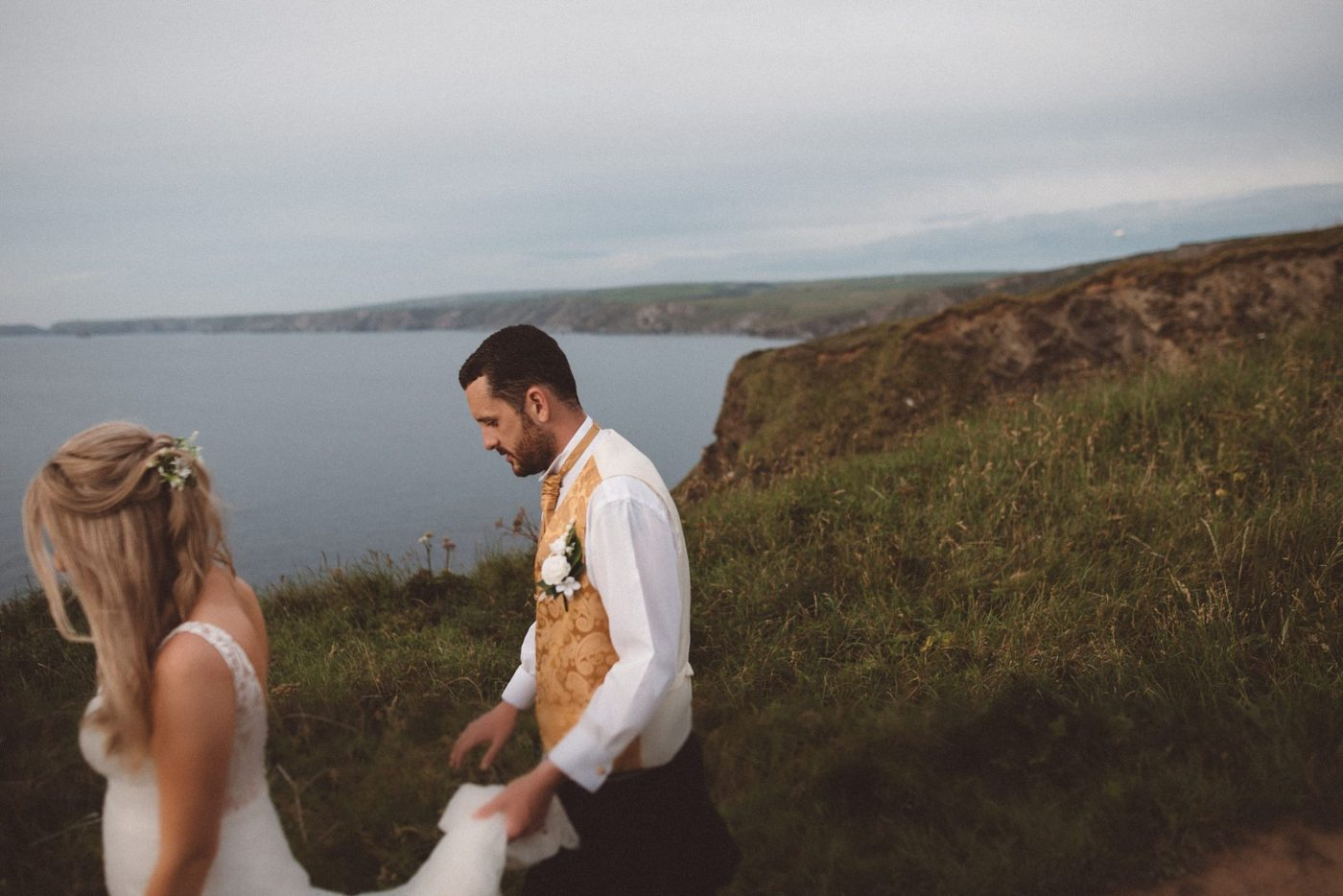 bride and groom at Port Isaac wedding