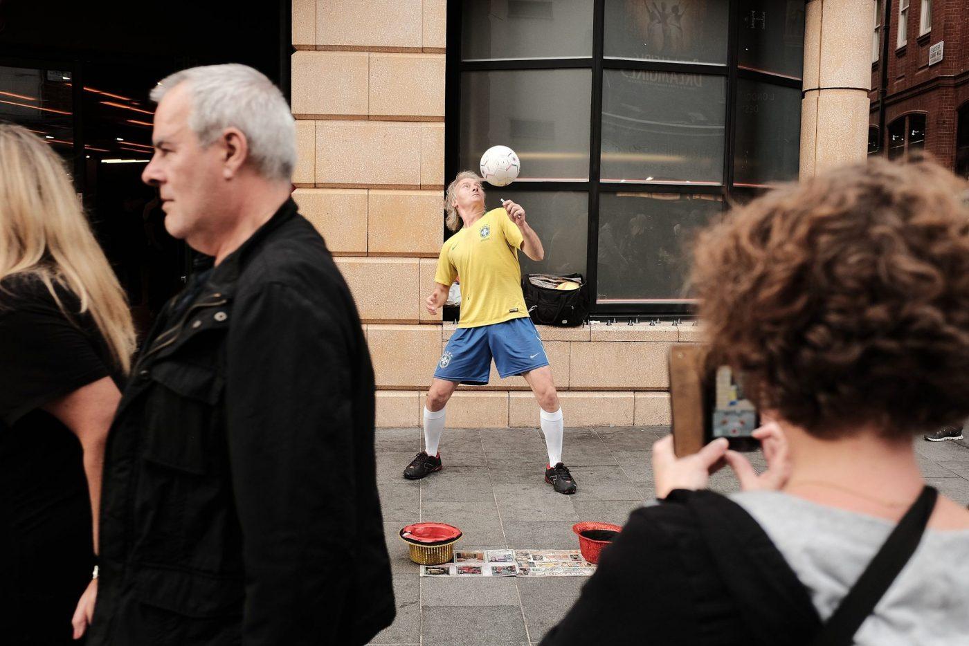 street footballer London showing skills