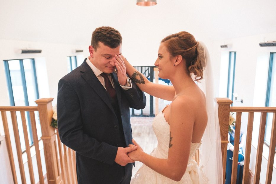 Emotional groom at the warren estate ceremony