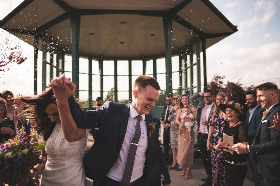 wedding confetti photo at Horniman museum wedding
