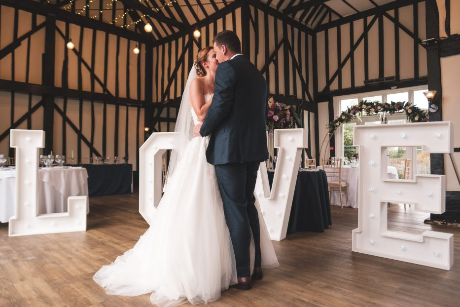 bride and groom love letters