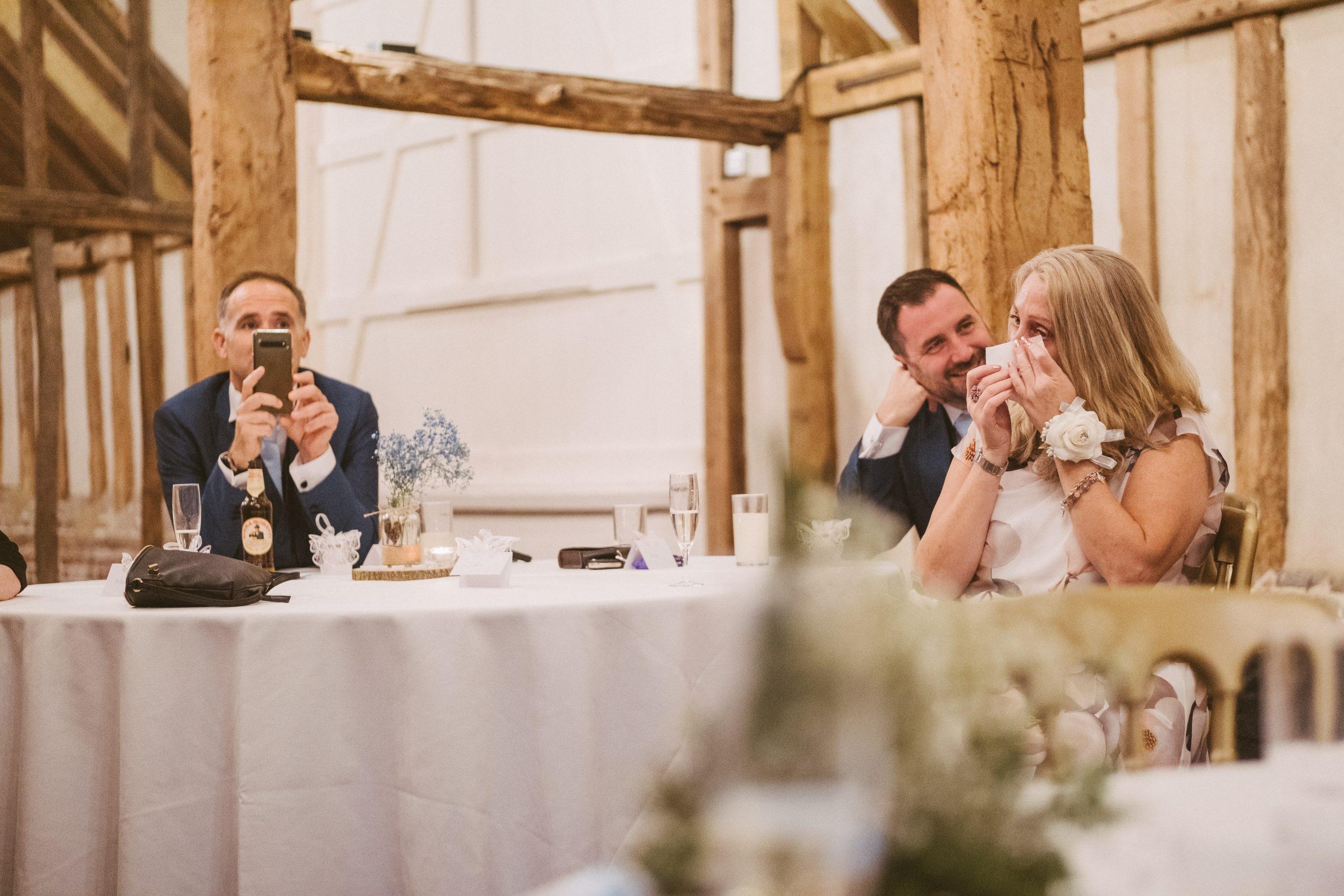 emotional wedding guest during Blake Hall speeches