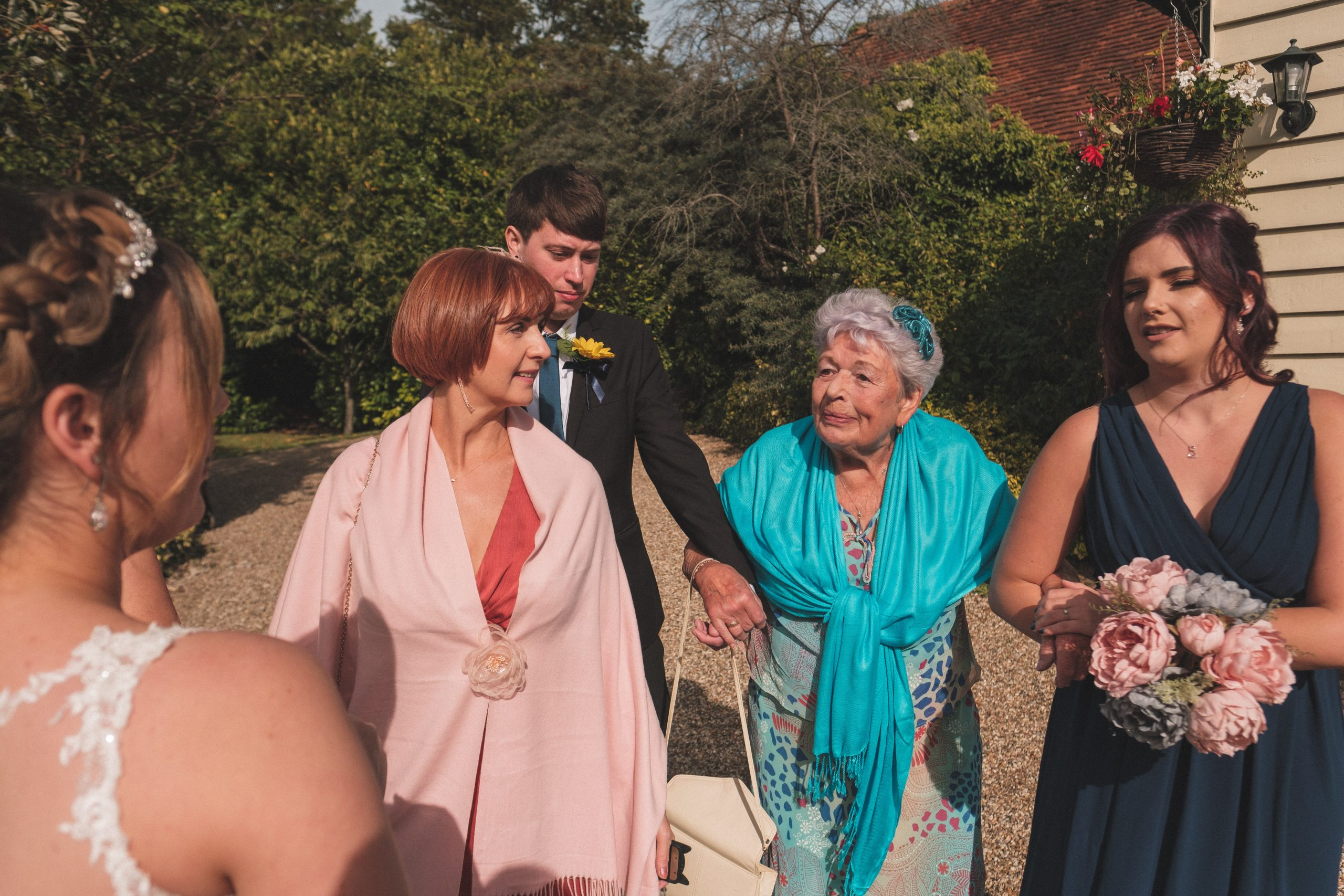 natural photo of bride and her Nan at Essex wedding