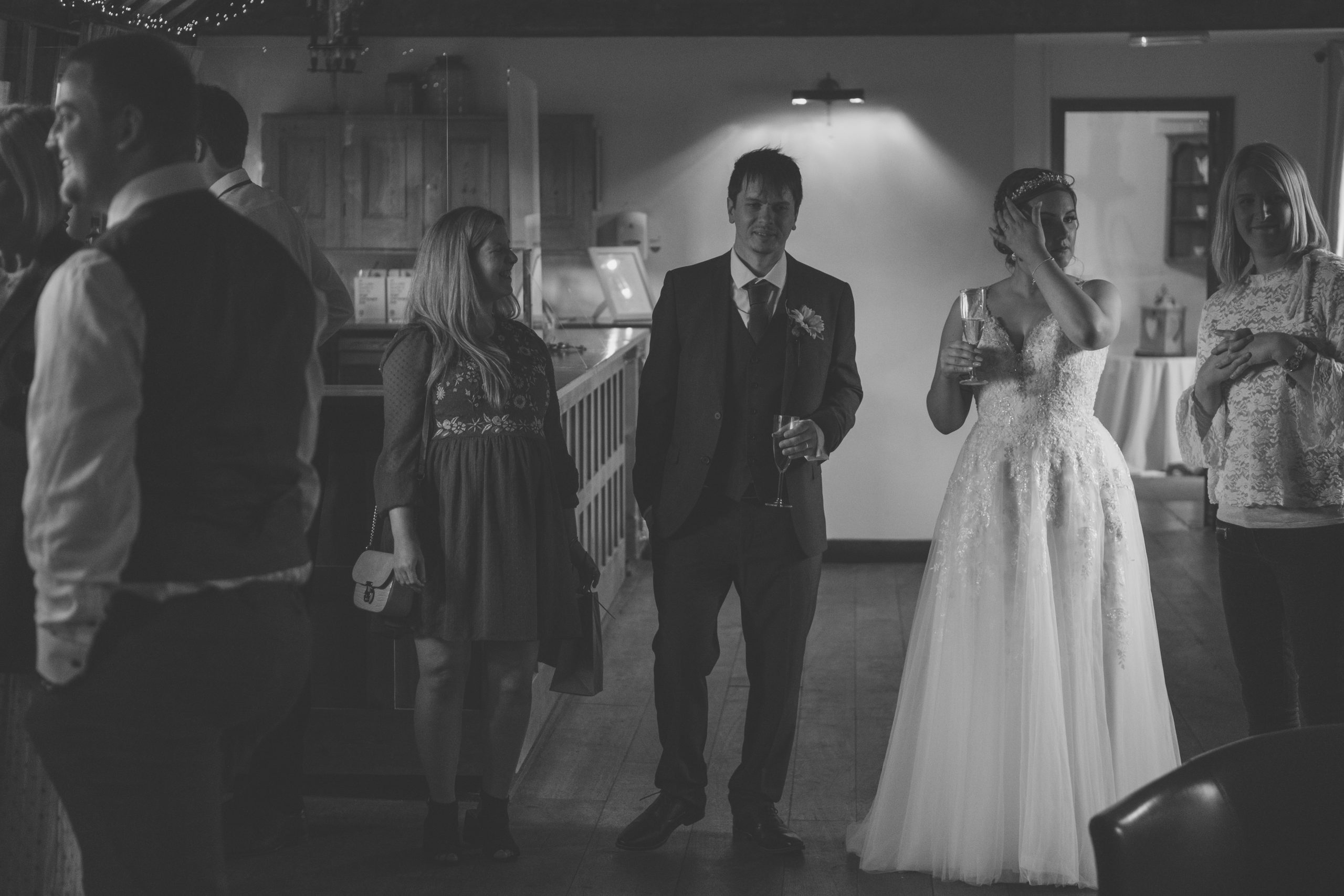 black and white wedding photo at The Reid Rooms