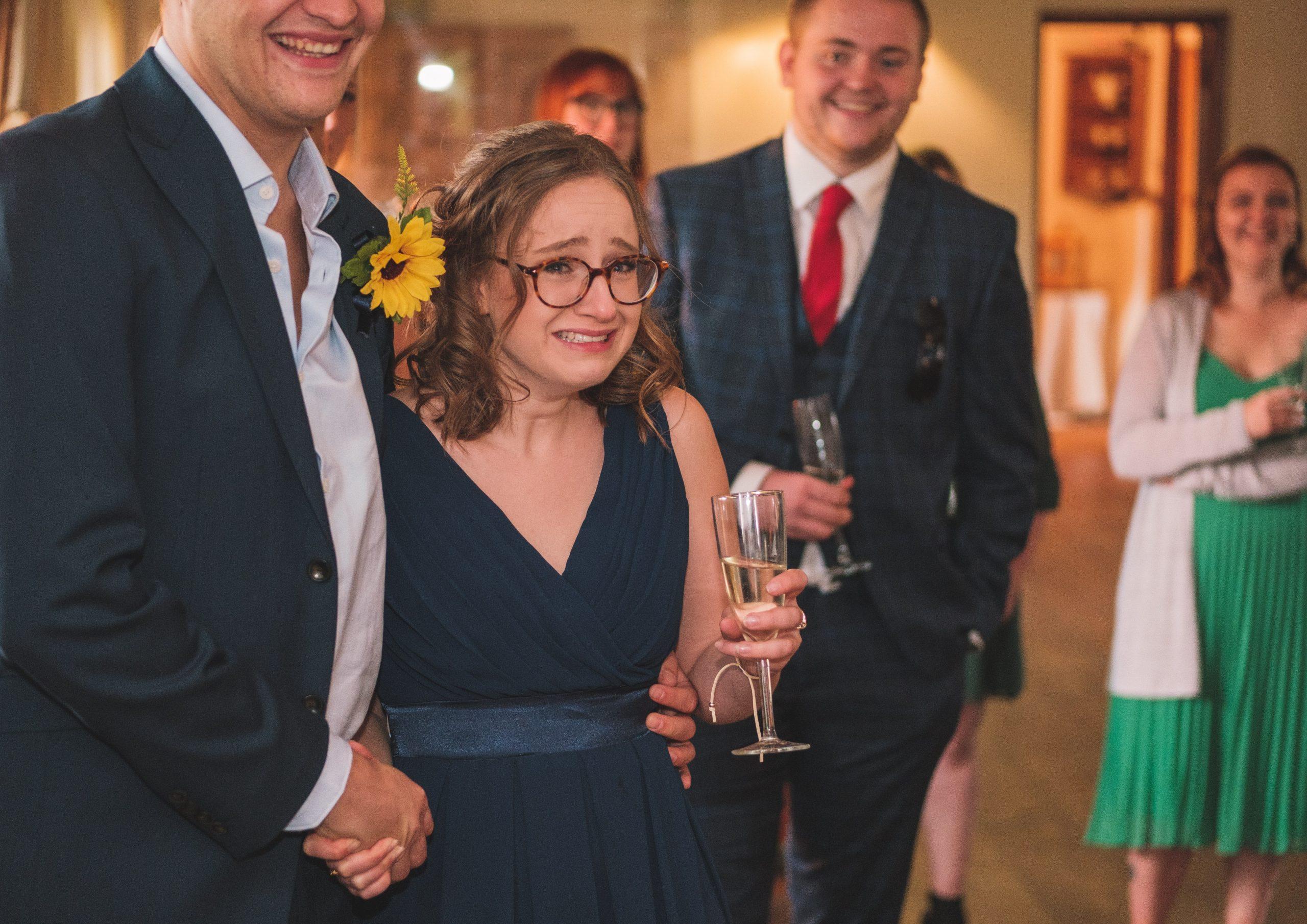 emotional wedding guest at Essex wedding