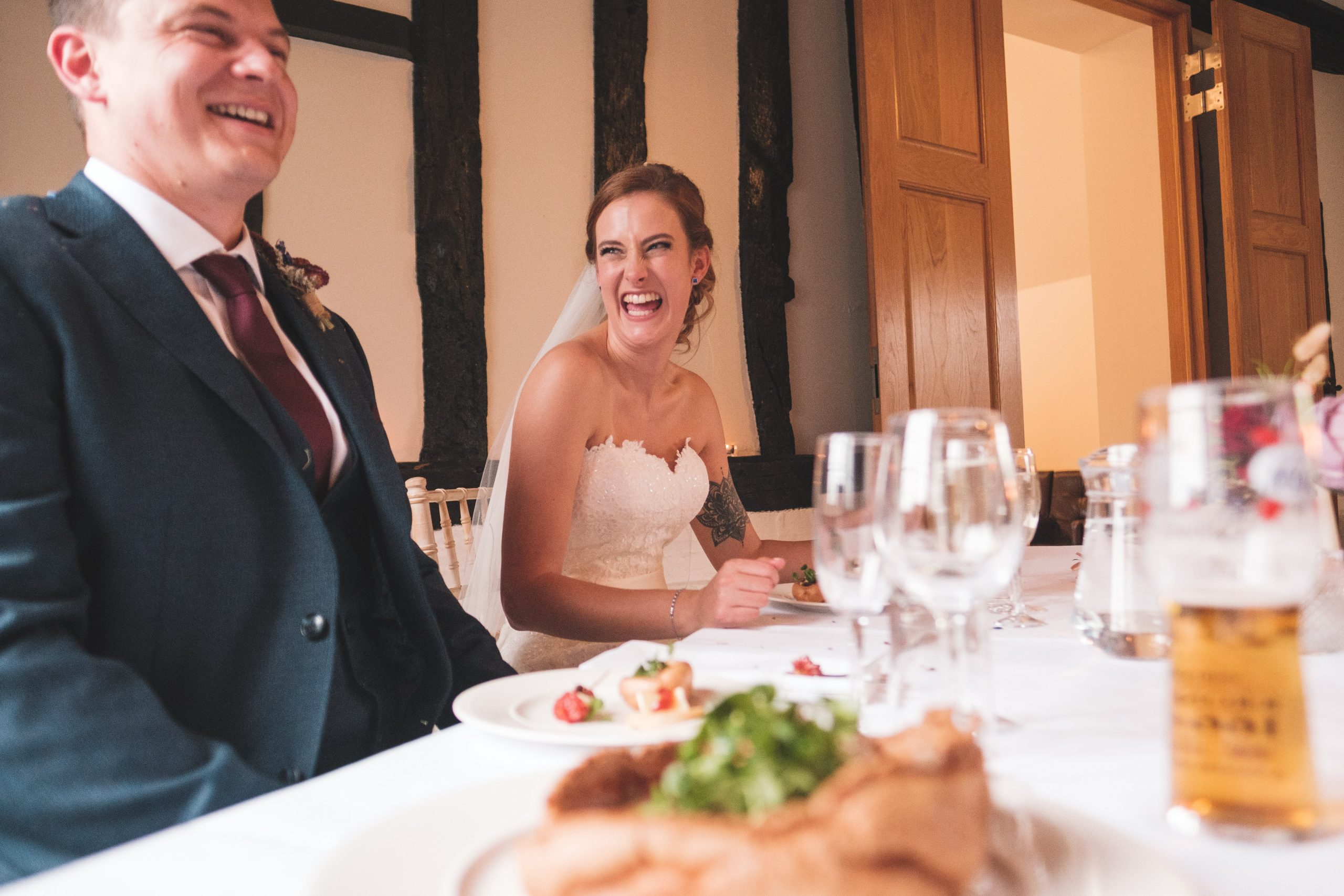 bride, groom and Yorkshire pudding at warren estate