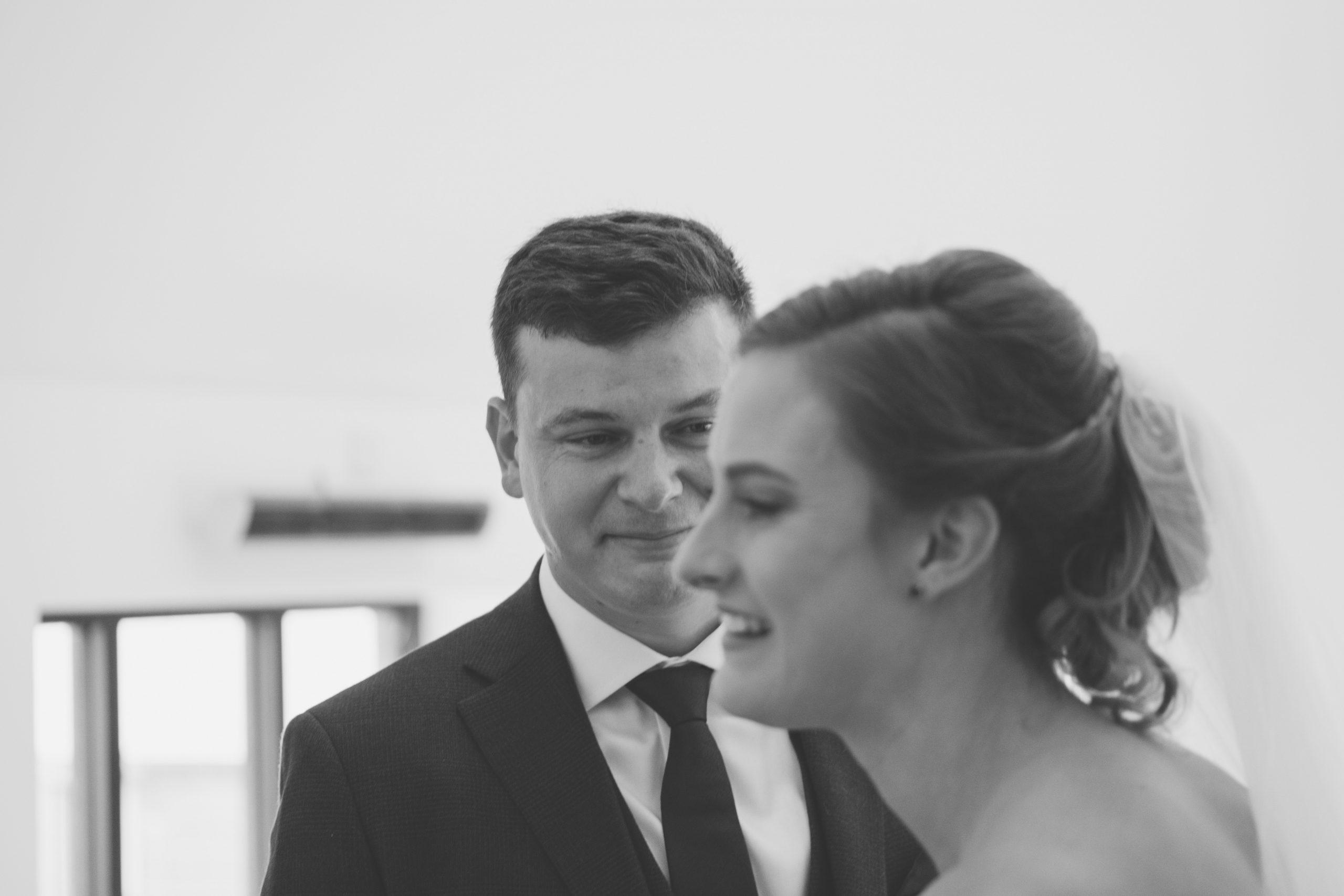 emotional groom during the warren estate ceremony