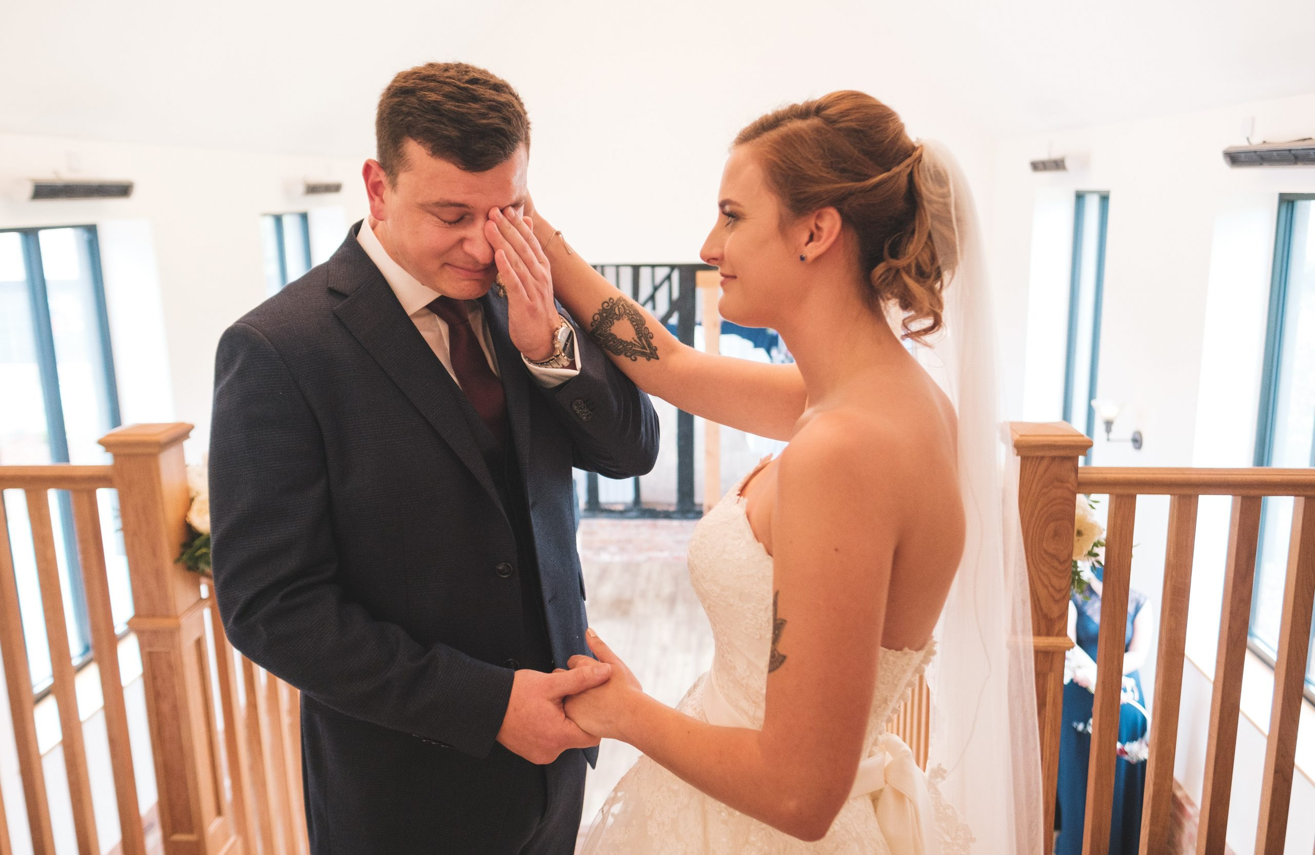 crying groom during an Essex wedding ceremony