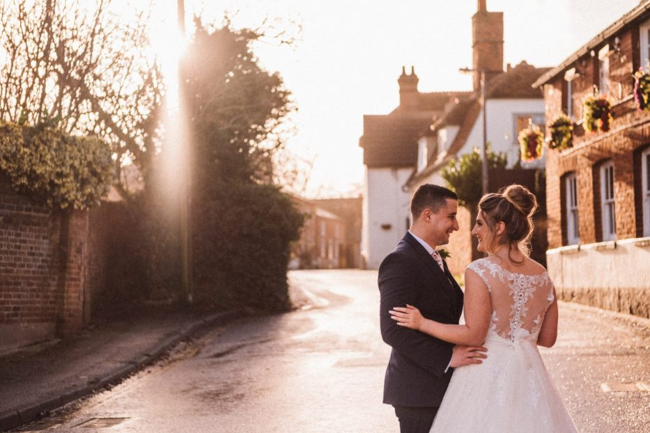 Unposed wedding portrait at The Moot Hall