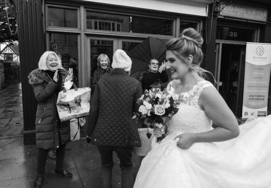 street shoppers congratulate Essex bride
