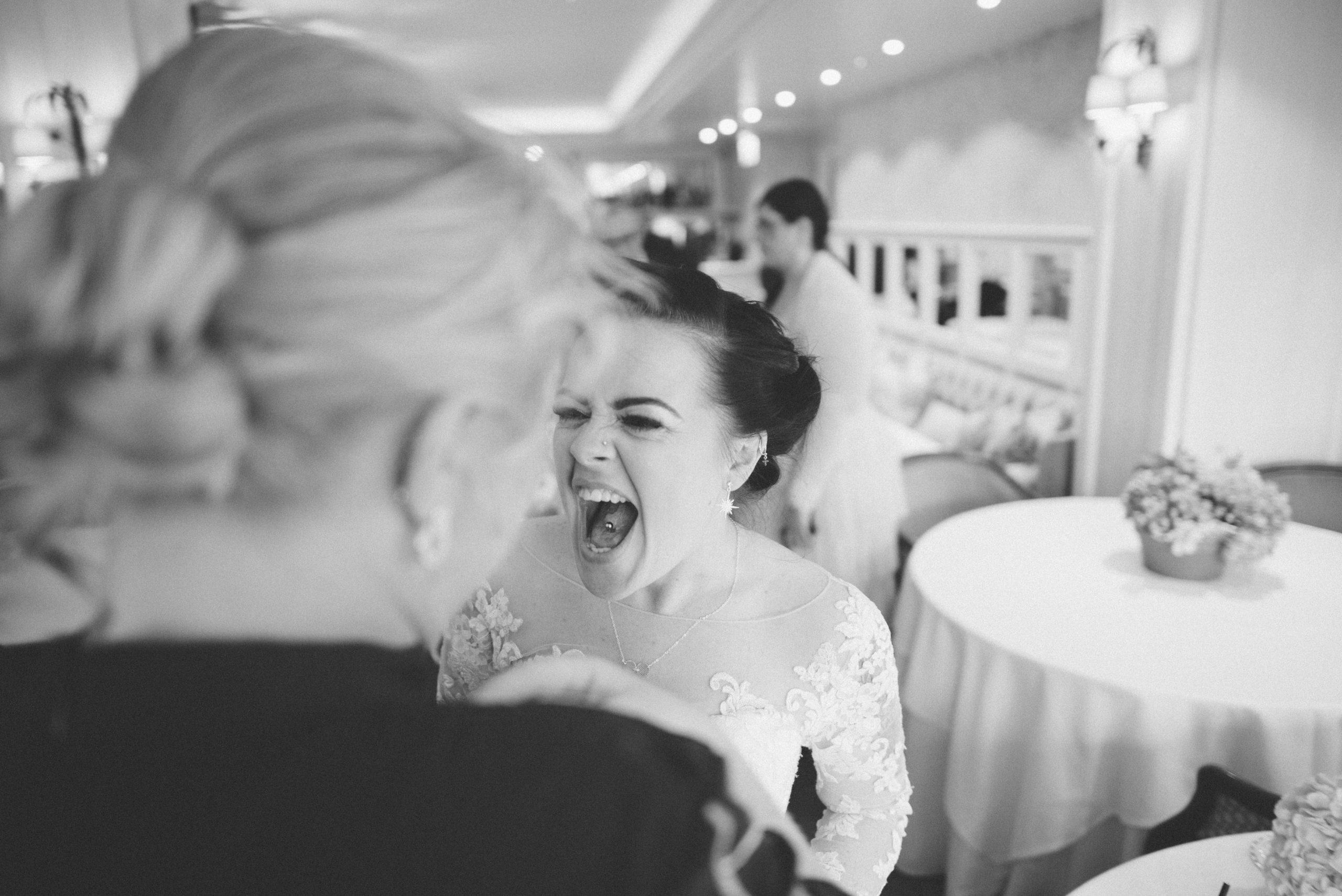 fun bride at her essex wedding