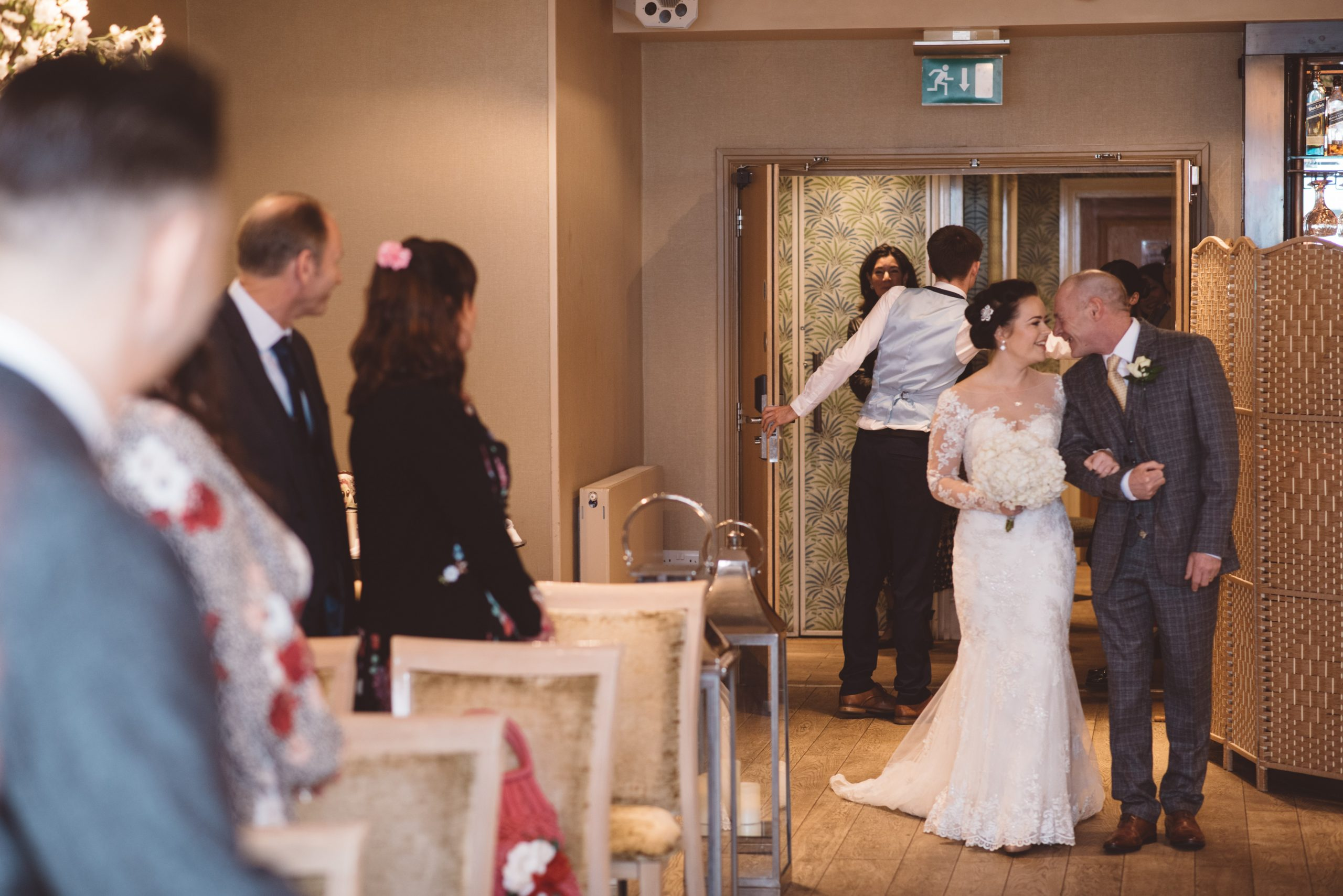 bride and her father loving moment at essex wedding